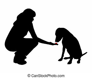 Dog training (obedience): command:don�t eat, wait