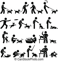 A set of pictogram representing dog training pictogram.