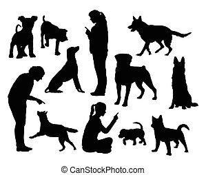 Dog training silhouettes - Dog training silhouettes. Good...