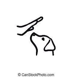 Dog training sketch icon.