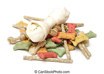 An isolated group of various dog treats.