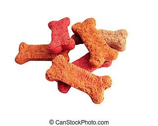 Dog treats, bone shaped. Isolated over white.