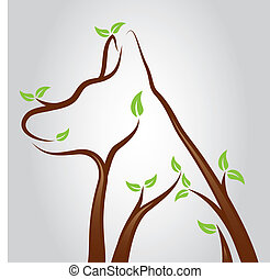 Dog Tree - Illustration of a dog shape growing from tree...