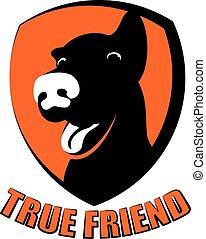 Dog true friend silhouette logo