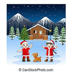 dog, twee, zwaaiende , lachen, kerstman, geitje, kostuum