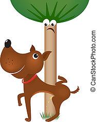 Dog urinating on tree. Illustration on white background