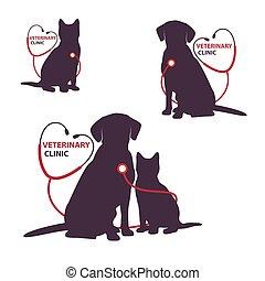 dog., vétérinaire, illustration, chat, clinique, vecteur, gabarit, logo