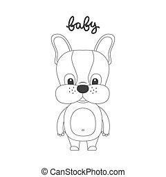 dog., vecteur, dessin animé, illustration