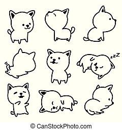 Dog vector breed french bulldog Puppy illustrations white