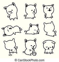 Dog vector french bulldog character icon breed Puppy illustrations
