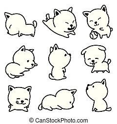 Dog vector french bulldog character icon cartoon breed Puppy illustrations doodle