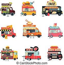 dog, vector, hamburger, straat, ijs, beweeglijk, hamburgers, pizza, vrachtwagens, illustratie, taco, verzameling, voedingsmiddelen, room, maaltijd, warme, voertuigen, koffie, winkels