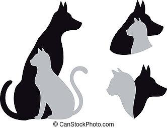 dog, vector, kat