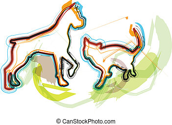 dog, vector, kat, illustratie, &