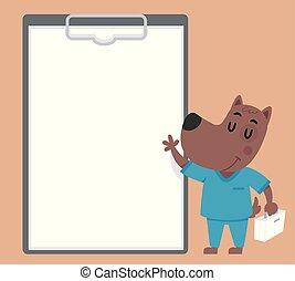 Dog Vet Clip Board Illustration