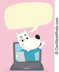 Dog Vet Laptop Speech Bubble Illustration