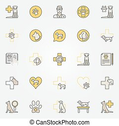 Dog veterinary colorful icons