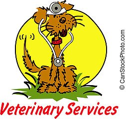"Cartoon dog dressed as a Veterinarian with sign reading ""Veterinary Services"""