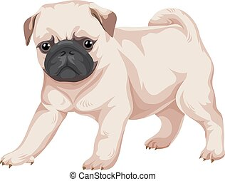 dog., vetorial, pug