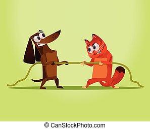 dog., vijand, vs, oorlog, plat, boos, huiselijk, competitie, kat, vector, illustratie, oppositie, concept., spotprent