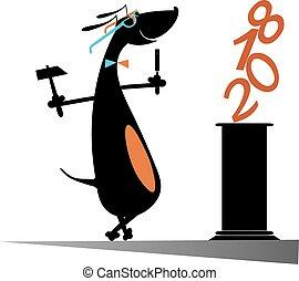 dog, vrijstaand, jaar, nieuw, maakt, beeldhouwer