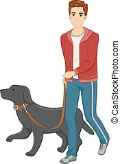 Dog Walk - Illustration of a Man Taking His Dog for a Walk