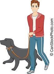 Dog Walk - Illustration of a Man Taking His Dog for a Walk