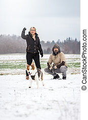 Dog walk on the winter season with snow
