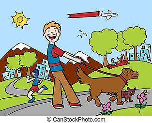 Dog Walker Park with man outside walking an people\'s pets.