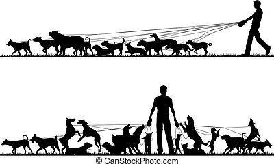 Two foreground silhouettes of a man walking many dogs with all elements as separate editable objects