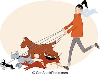 Young woman running with a group of dogs of different breeds, vector cartoon, no transparencies