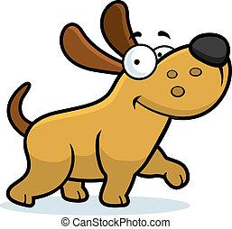Dog Walking - A happy cartoon dog walking and smiling.