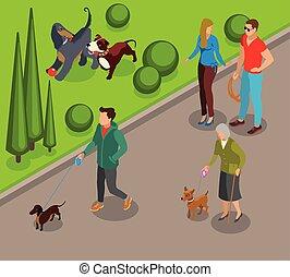 Dog Walking Isometric Illustration