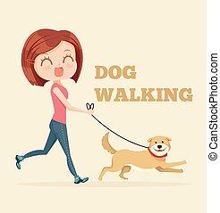 Dog walking service. Vector flat cartoon illustration