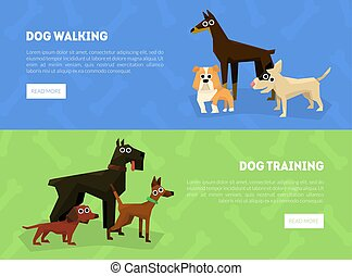 Dog Walking, Training Banner, Landing Page Template, Dog School or Club Vector Illustration