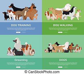 Dog Walking, Training, Grooming Banners.