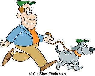 dog., wandelende, spotprent, man