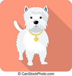 Vector dog West Highland White Terrier standing icon flat design