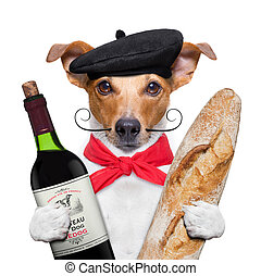 dog  wine baguette beret