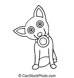 dog with a bowl in his mouth. isolated outline vector illustration