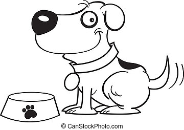 Dog with a dog dish - Black and white illustration of a dog...