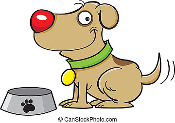 Dog with a dog dish - Cartoon illustration of a dog with a...