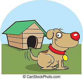 Dog with a dog house