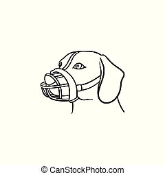 Dog with a muzzle hand drawn outline doodle icon. - Muzzled...