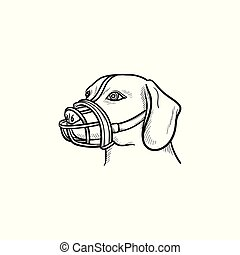 Dog with a muzzle hand drawn outline doodle icon. Pets in...