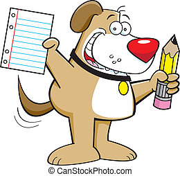 Dog with a pencil