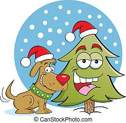 Dog with a Pine tree