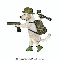 Dog with backpack and pistol 2