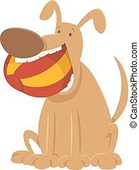 dog with ball cartoon character