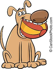 dog with ball cartoon illustration